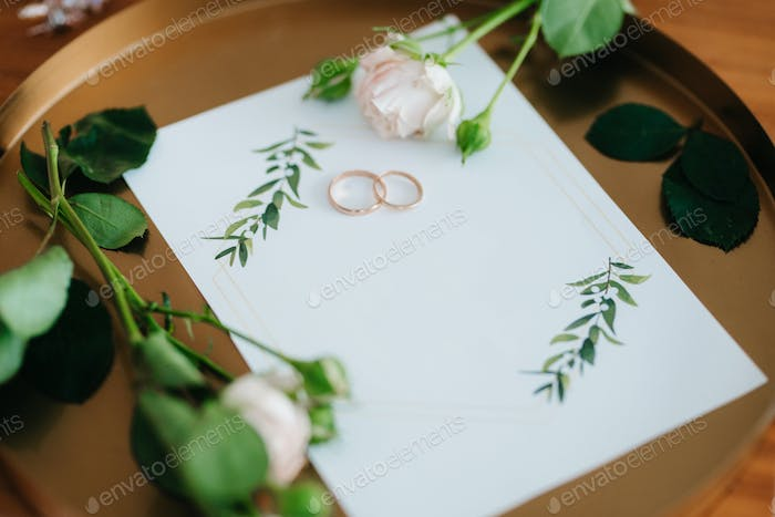 gold wedding rings as an attribute of a young couple's wedding