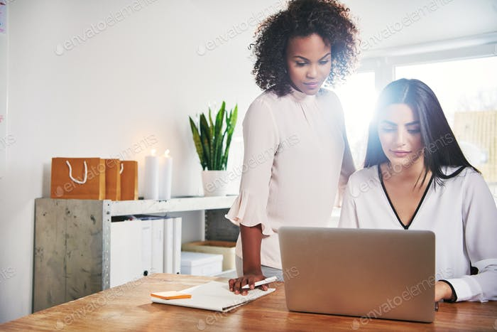 Two young female business partners