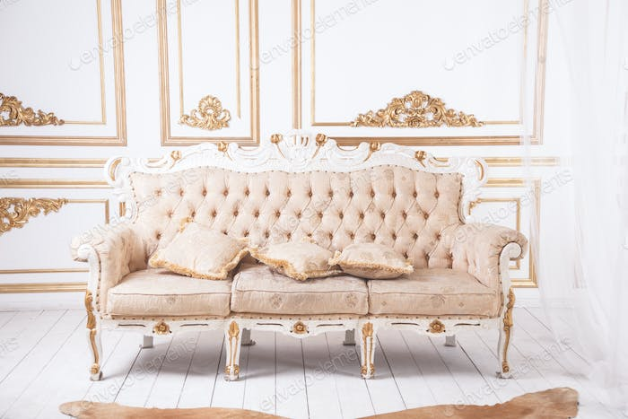 Antique luxury sofa against royal wall decoration.