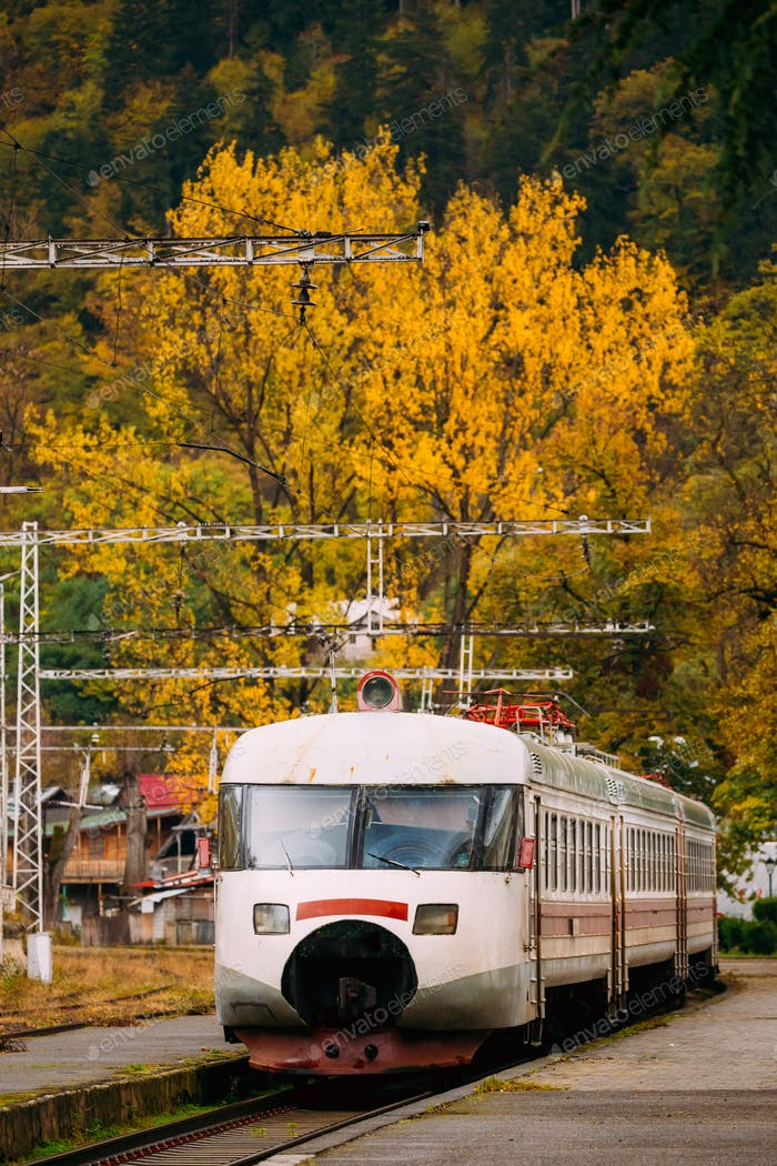 Borjomi, Samtskhe-Javakheti, Georgia. Suburban Electric Train Ne
