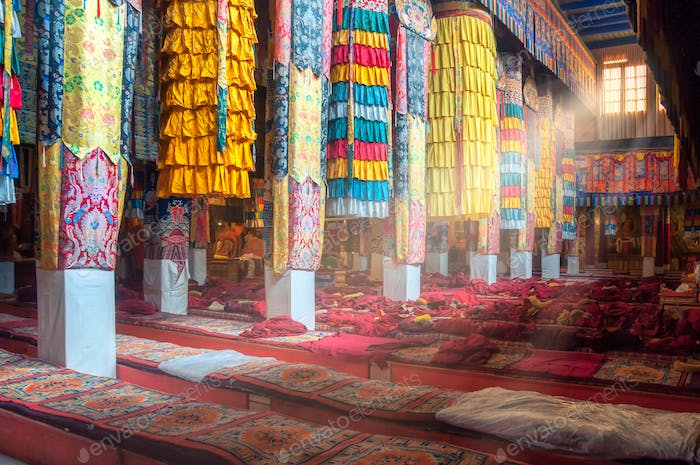 Beautiful colorful interior decoration of Tibetan buddhist temple, Tibet