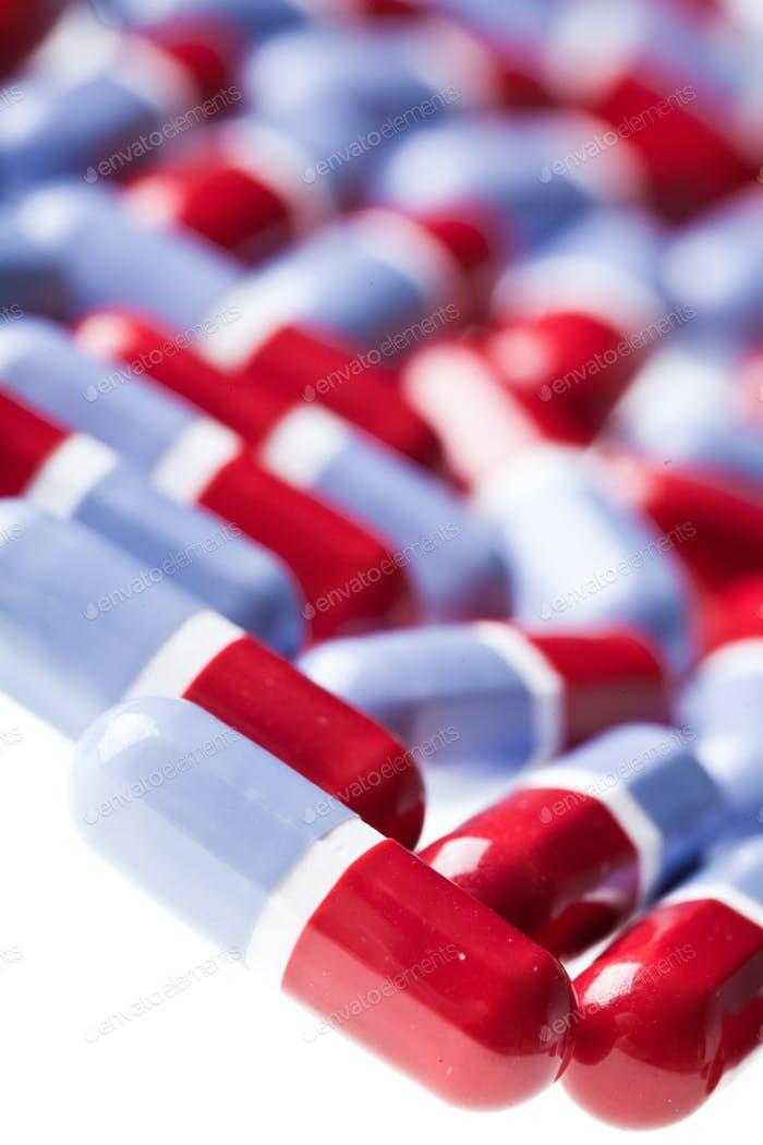 Rote und blaue Tabletten Textur