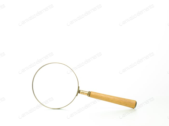 a magnifying glass with wooden handle