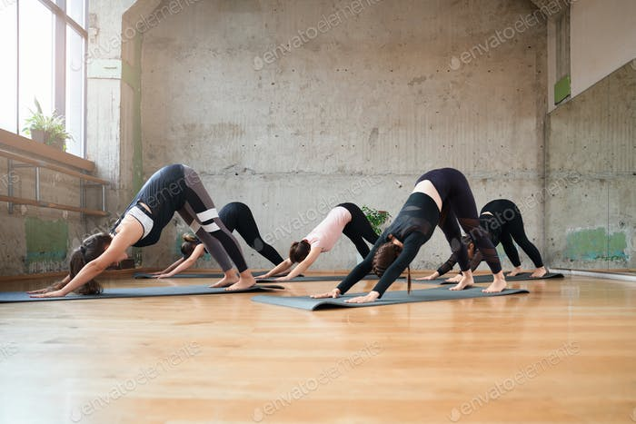 Group of women practicing in hall