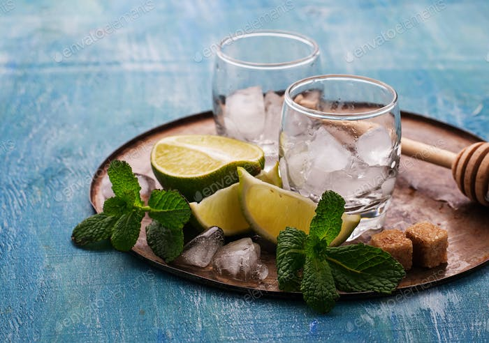 Ingredients for mojito:  mint, ice, lime, sugar