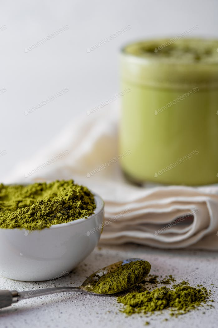 Bulletproof Tea Matcha. Ketogenic Keto Diet Hot Drink.