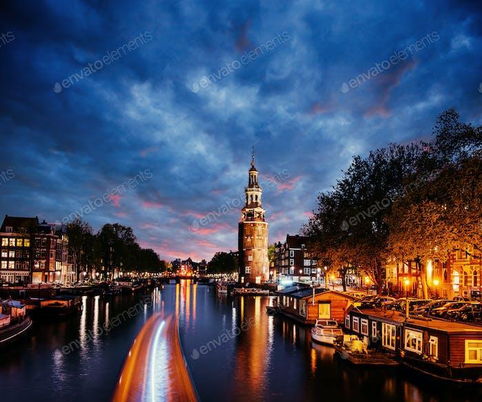 Beautiful in Amsterdam. Night illumination