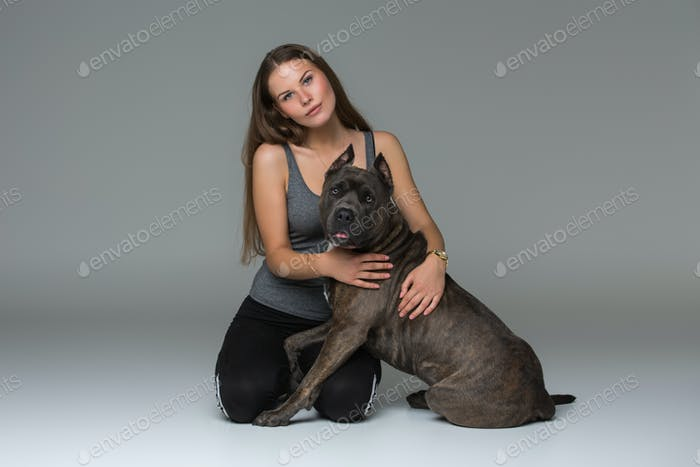 Thumbnail for Beautiful girl with grey stafford terrier
