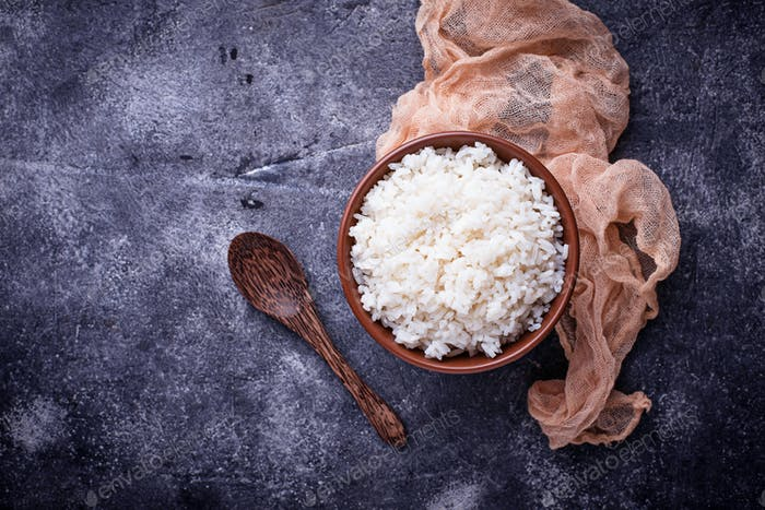 White boiled rice on bowl