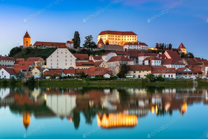Illuminated City of Ptuj in Slovenia at Twilight