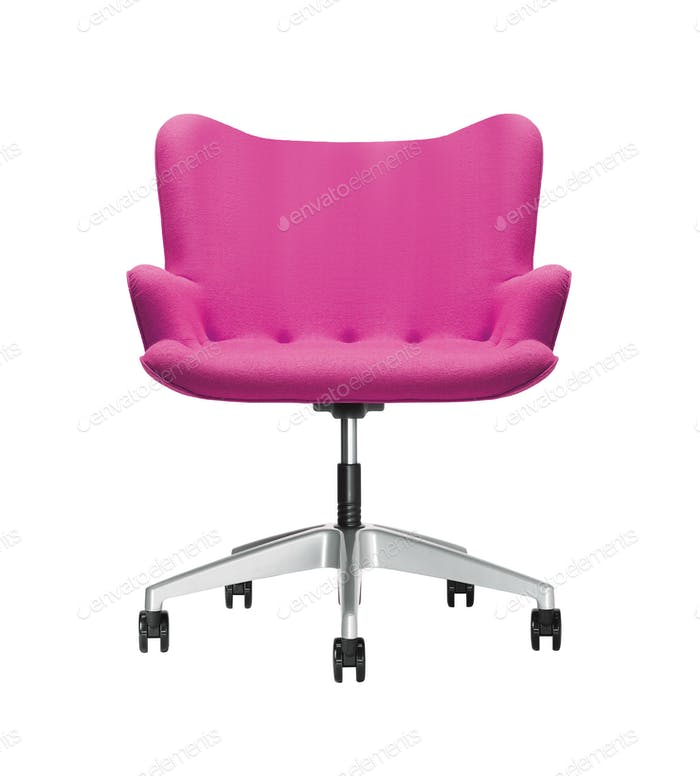 The office chair from pink leather isolated on white background
