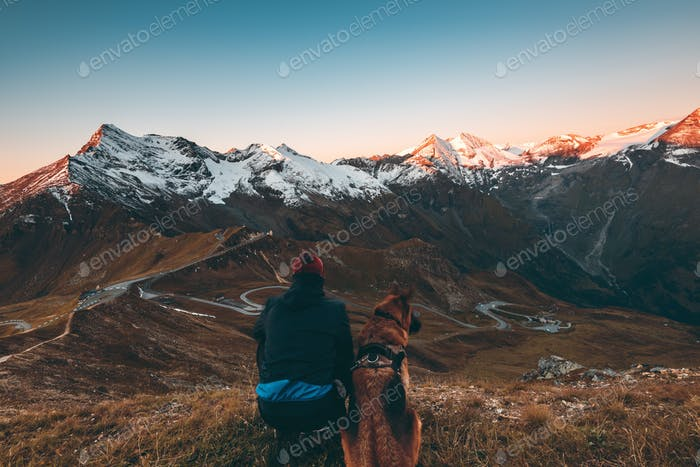 Active Man and Dog watching Sunrise in High Alps Mountains