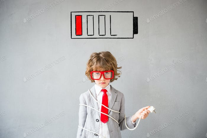 Child pretend to be businessman