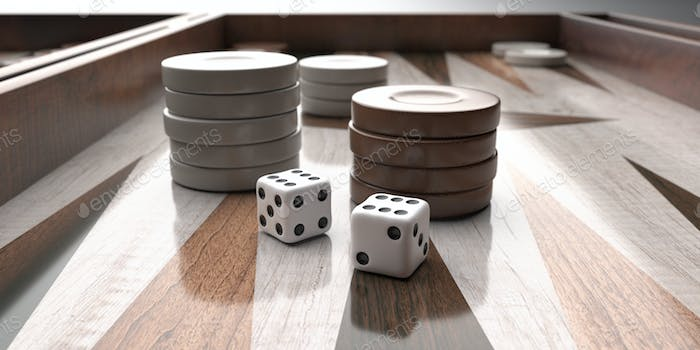 Backgammon, dice and chips closeup on game board. 3d illustration
