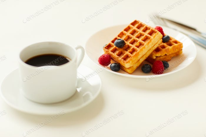 Waffle dessert on White