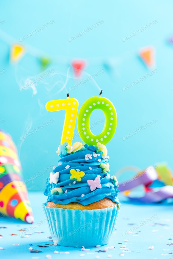 Seventieth 70th birthday cupcake with candle blow out.Card mocku