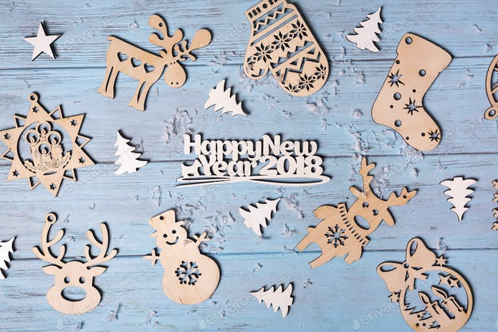 Christmas wooden hanging toys and Merry Christmas