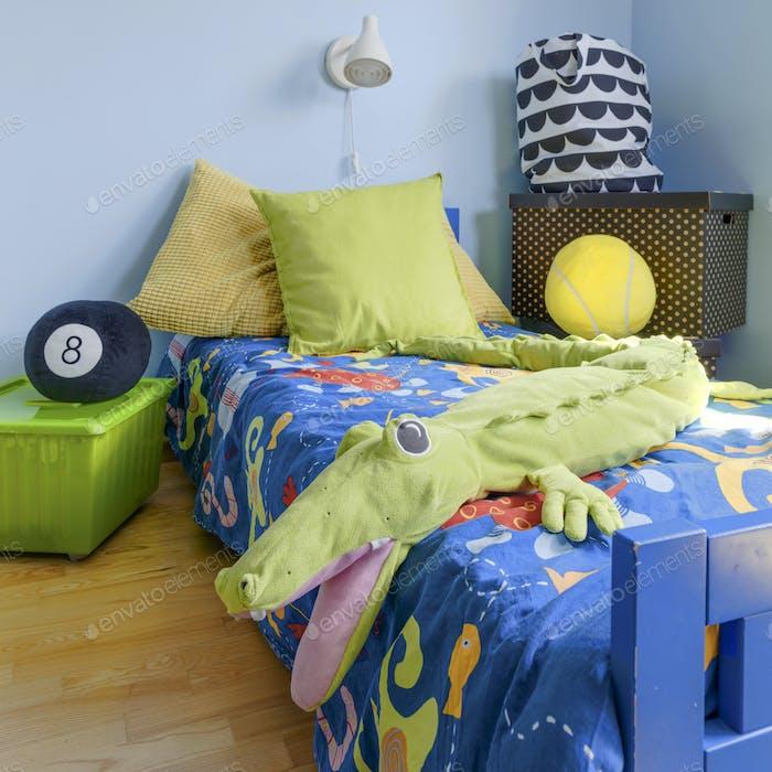 Corner of a teenager room in blue