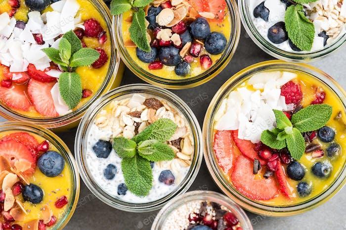 Selection of super healthy food in jars