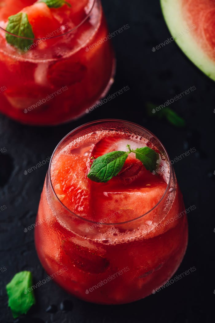 Fresh watermelon and strawberry cocktail