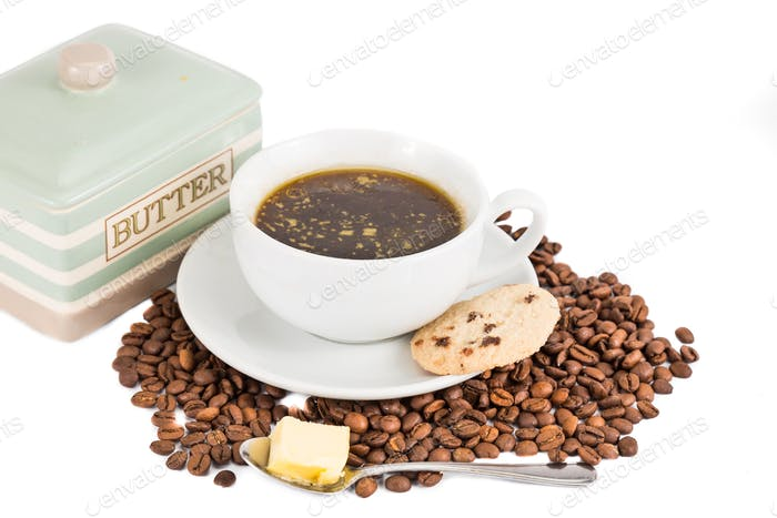 Black coffee with added butter commonly known as bulletproof coffee