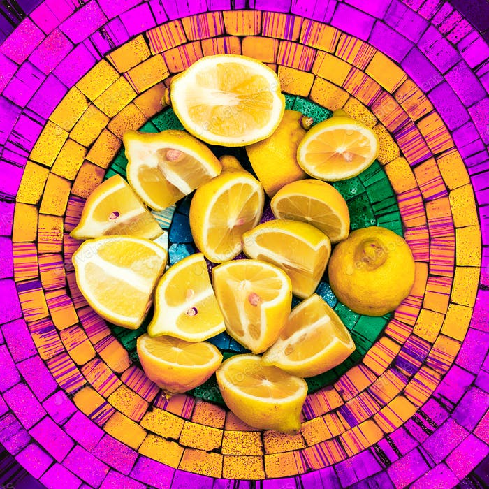 Lemons on a bright background. Creative food ideas