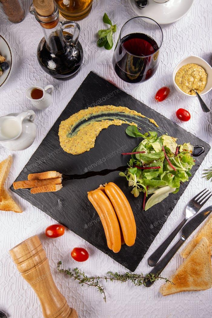 Breakfast frankfurter sausages
