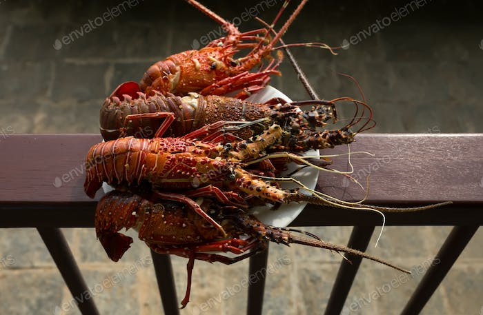 Tasty prepared lobsters