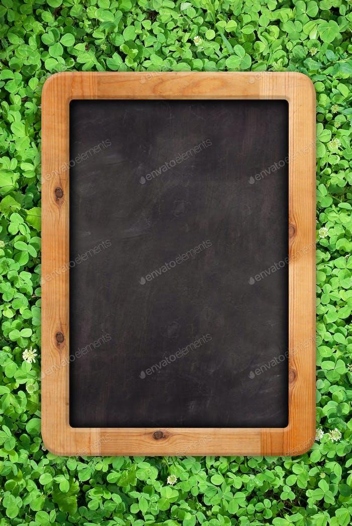 Blank chalk board outside in green grass