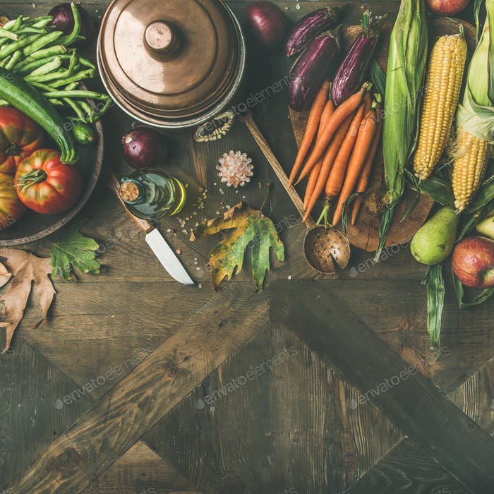 Autumn healthy ingredients for Thanksgiving day dinner, square crop
