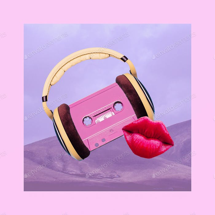Contemporary art collage. Retro Vibes Lover. Audio cassette and