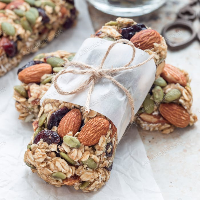 Homemade granola energy bars with figs, oatmeal, almond, dry cra