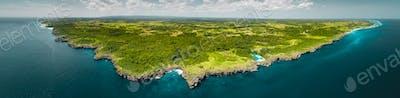 Panorama island, ocean. Aerial drone shot. Indonesia