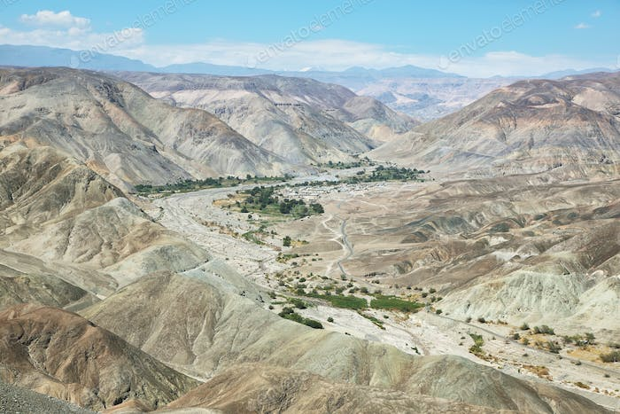 Views of Tarapaca canyon and village of Pachica