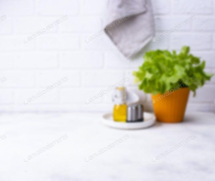 Defocused modern kitchen background in light color
