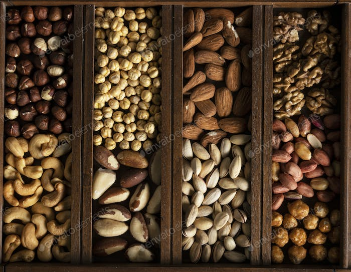 Mix of nuts in a wooden box