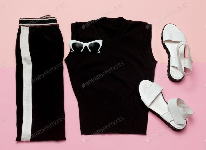 Black Fashion clothing set. For woman. Urban casual style