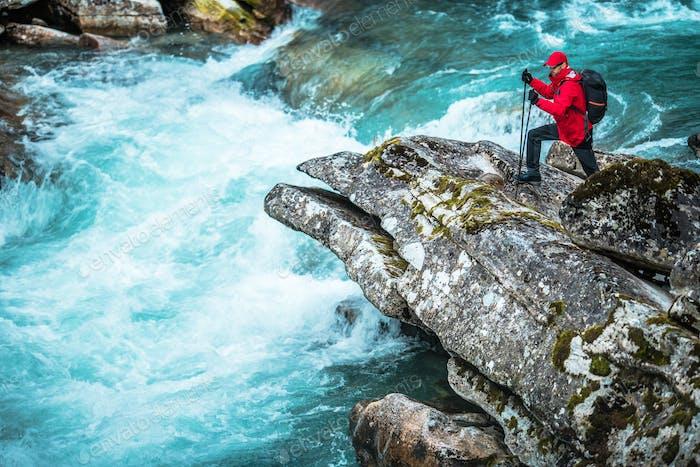 Hiker Exploring River Gorge