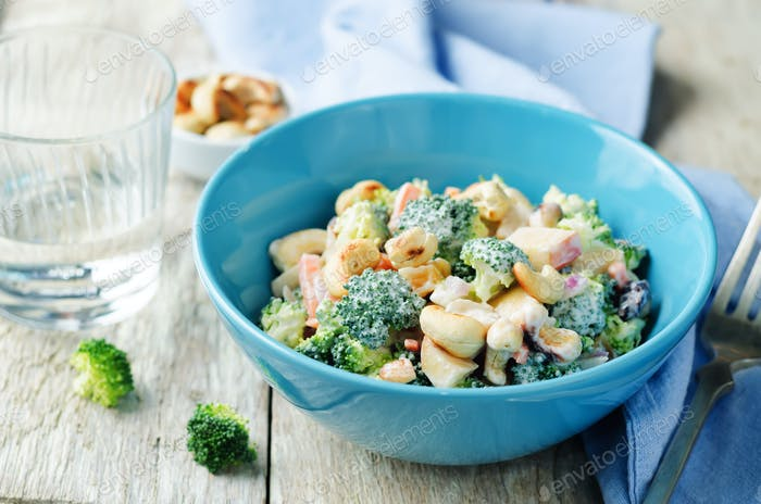 Broccoli carrot cashews apple salad with honey greek yogurt dres