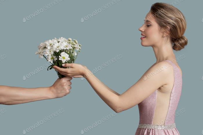 Beautiful Woman Give Chamomile Flowers.