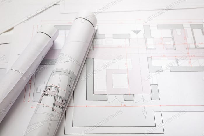 Residential building blueprint drawings. Construction concept