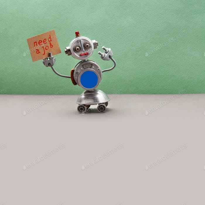 Job search concept. Autonomous four-wheeled robot wants to get a job.