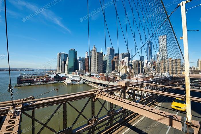Lower Manhattan skyline view from Brooklyn Bridge