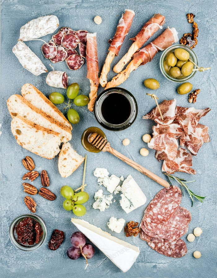 Cheese and meat appetizer selection or wine snack set