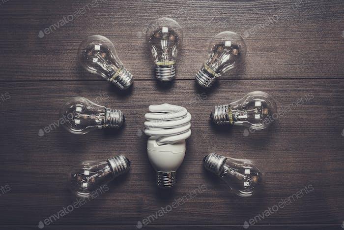 Energiesparlampe und Glühlampen Konzept