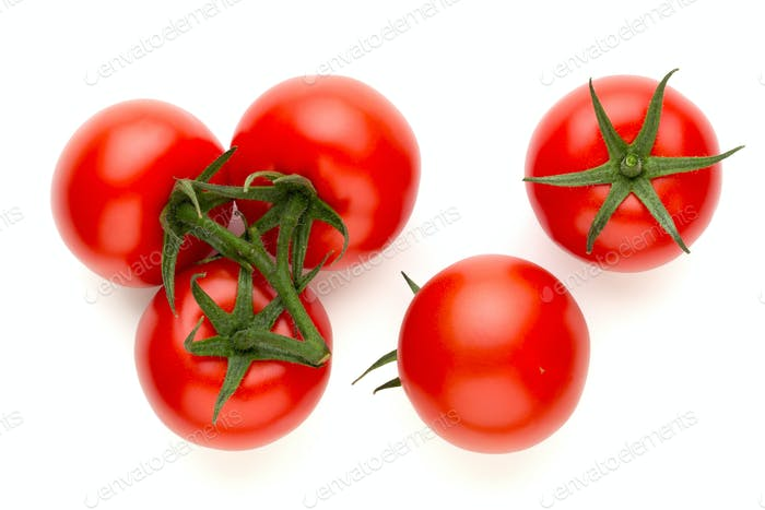 Fresh tomatoes isolated on white background.