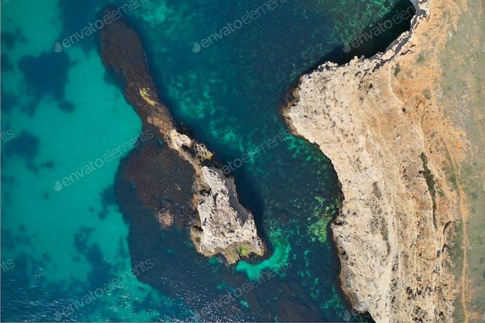 Aerial shot rock beach