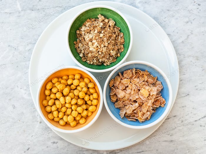 top view of three kind of cold breakfast cereals
