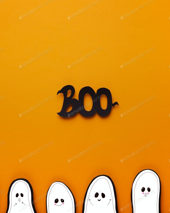 Halloween ghosts with boo text looking on orange background
