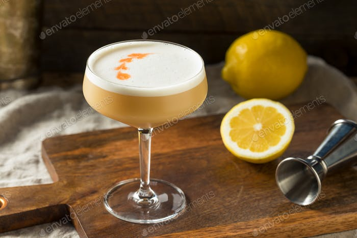 Homemade Boozy PIsco Sour Cocktail